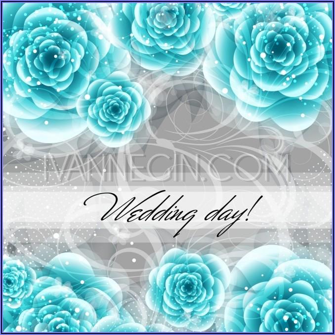 Wedding Invitation Card Blue Background Design