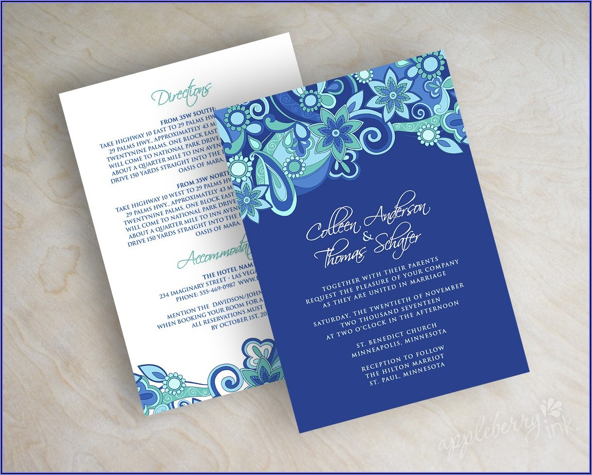 Wedding Invitation Sample Design Royal Blue