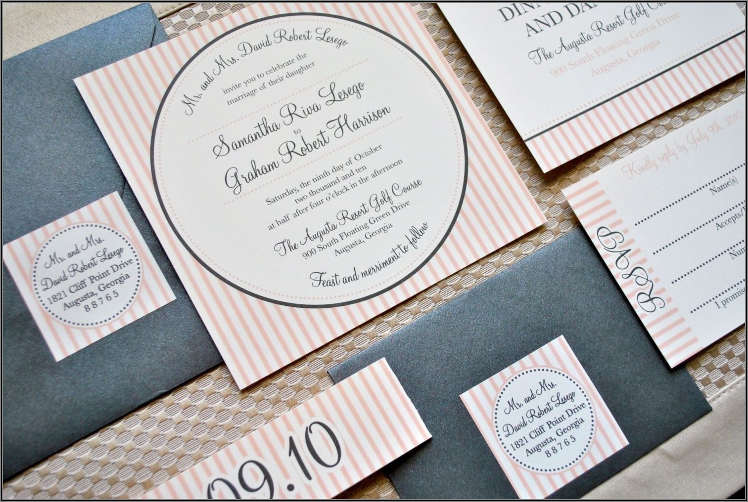 Wedding Invitation Suite With Belly Band