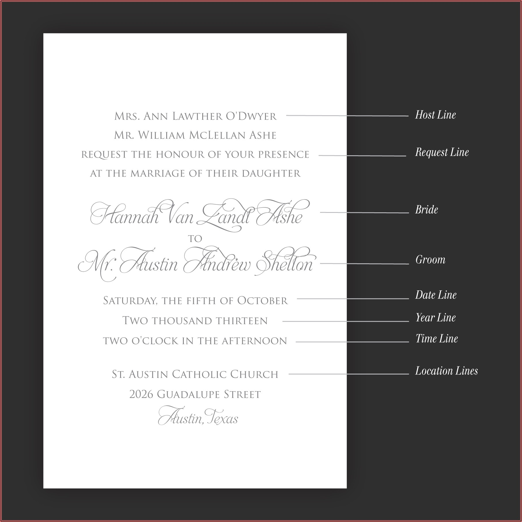 Wedding Invitation Wording Etiquette Bride's Parents Hosting