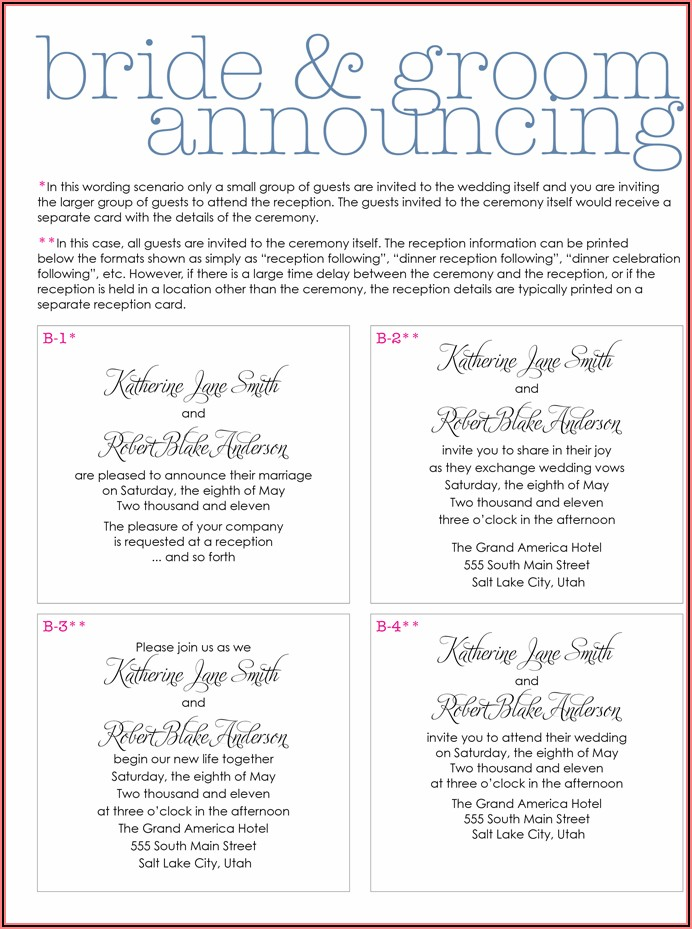 Wedding Invitation Wording Etiquette Couple Hosting