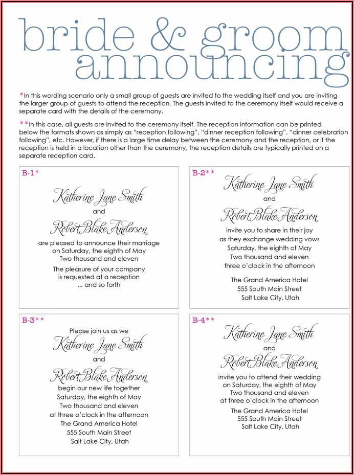 Wedding Invitation Wording Etiquette Couple Hosting