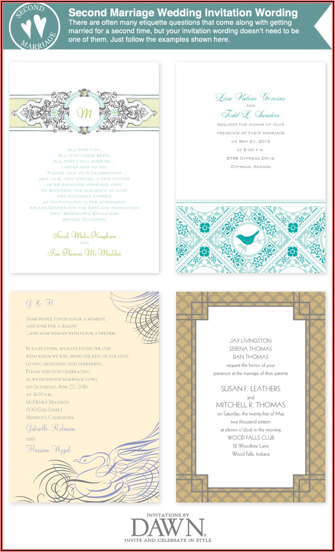 Wedding Invitation Wording For Second Marriages Samples