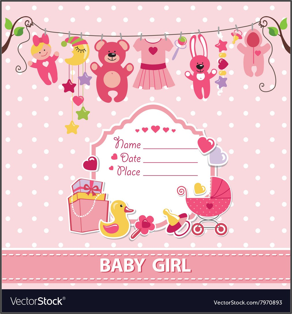 Welcome Baby Girl Invite Template
