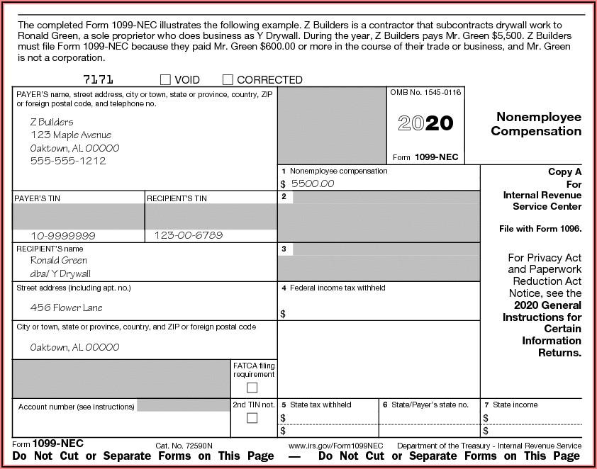 1099 Nec Form 2020 Free Printable