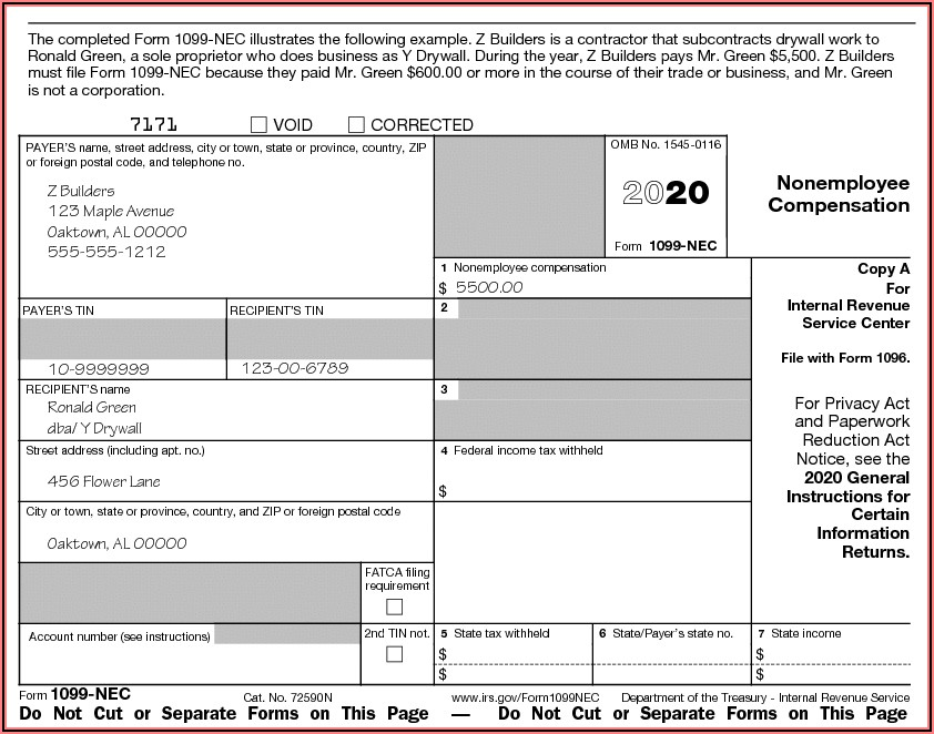 1099 Nec Printable Form Free