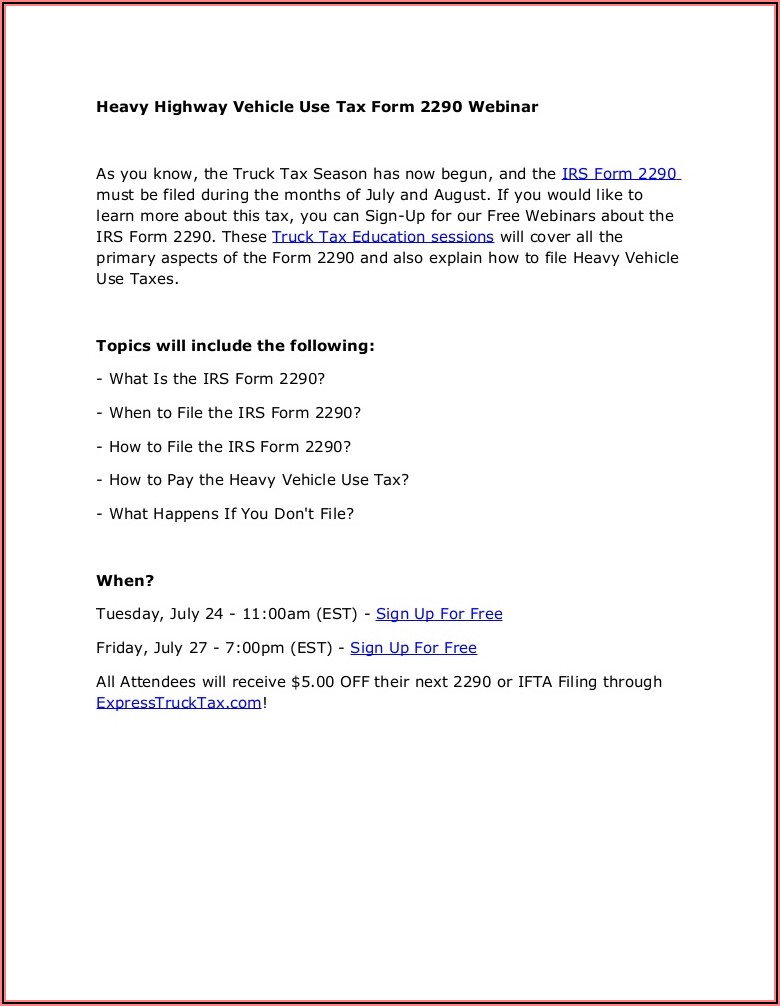 2290 Heavy Highway Tax Form