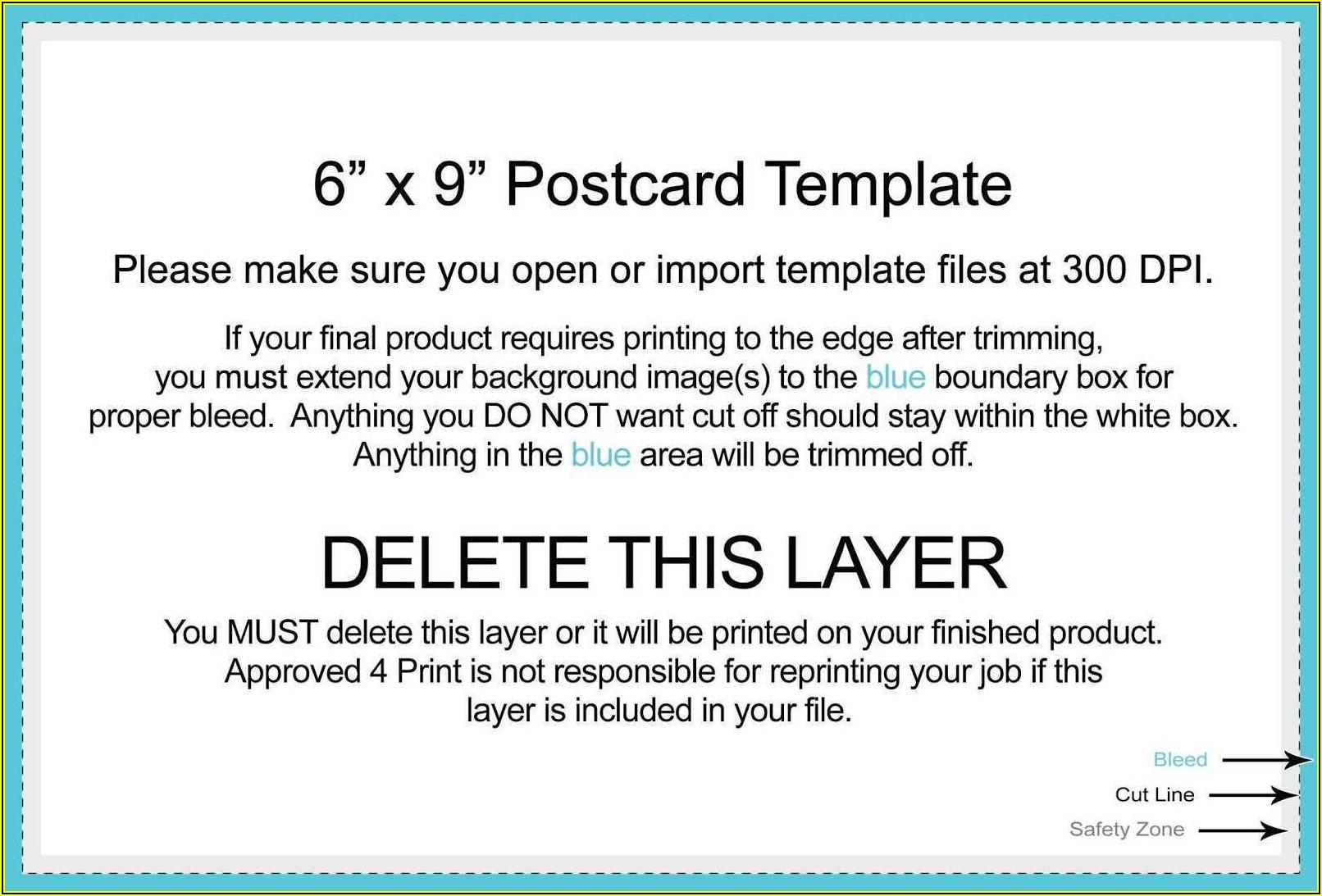 9x6 Postcard Template Usps