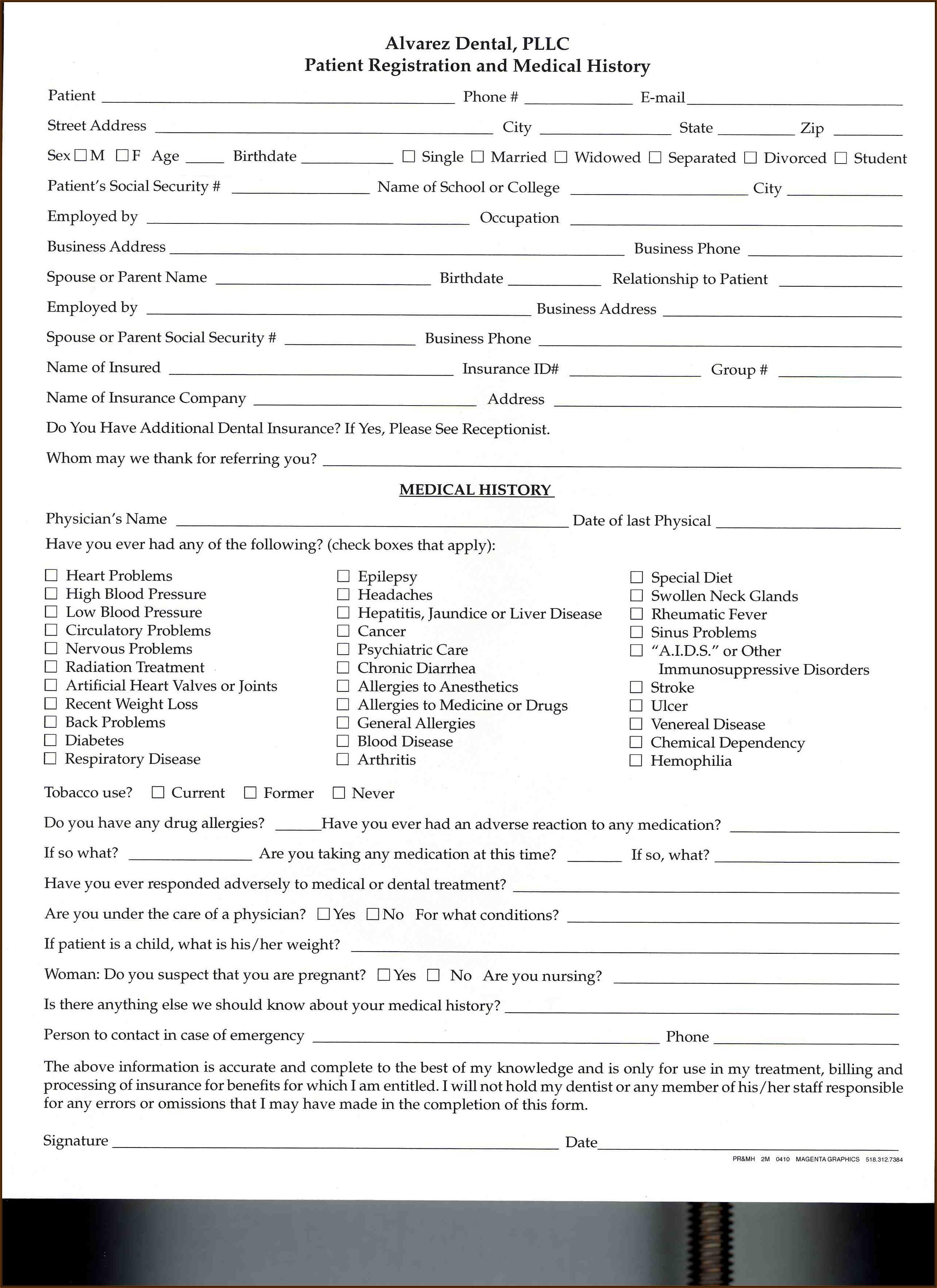 Ada Dental Registration Forms