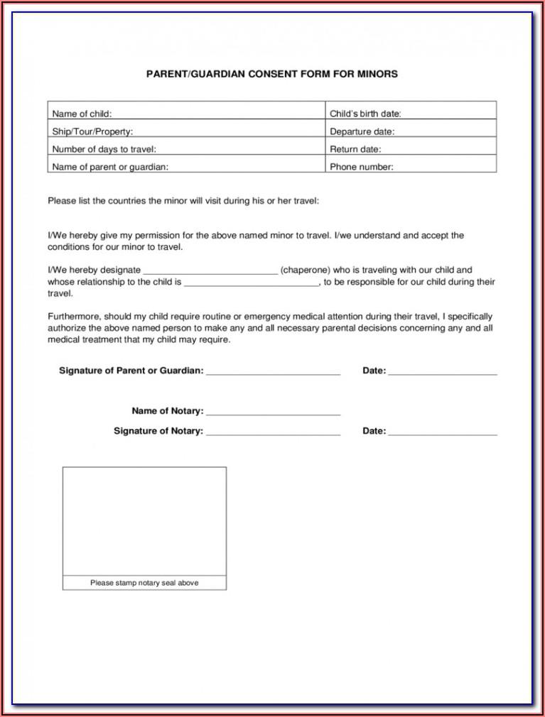 Affidavit Parental Consent Form Travel