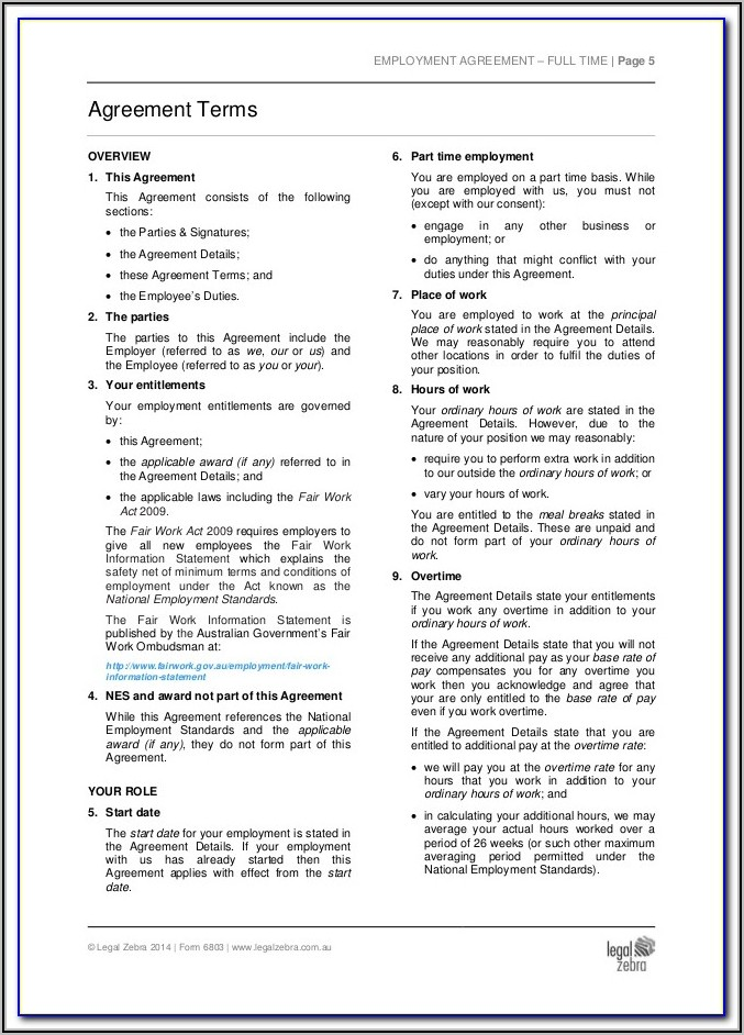 Amendment To Employment Contract Template South Africa