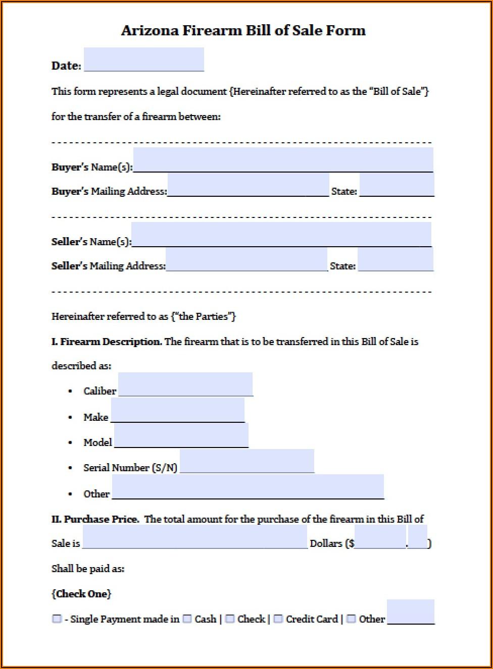 Arizona Bill Of Sale Form Free