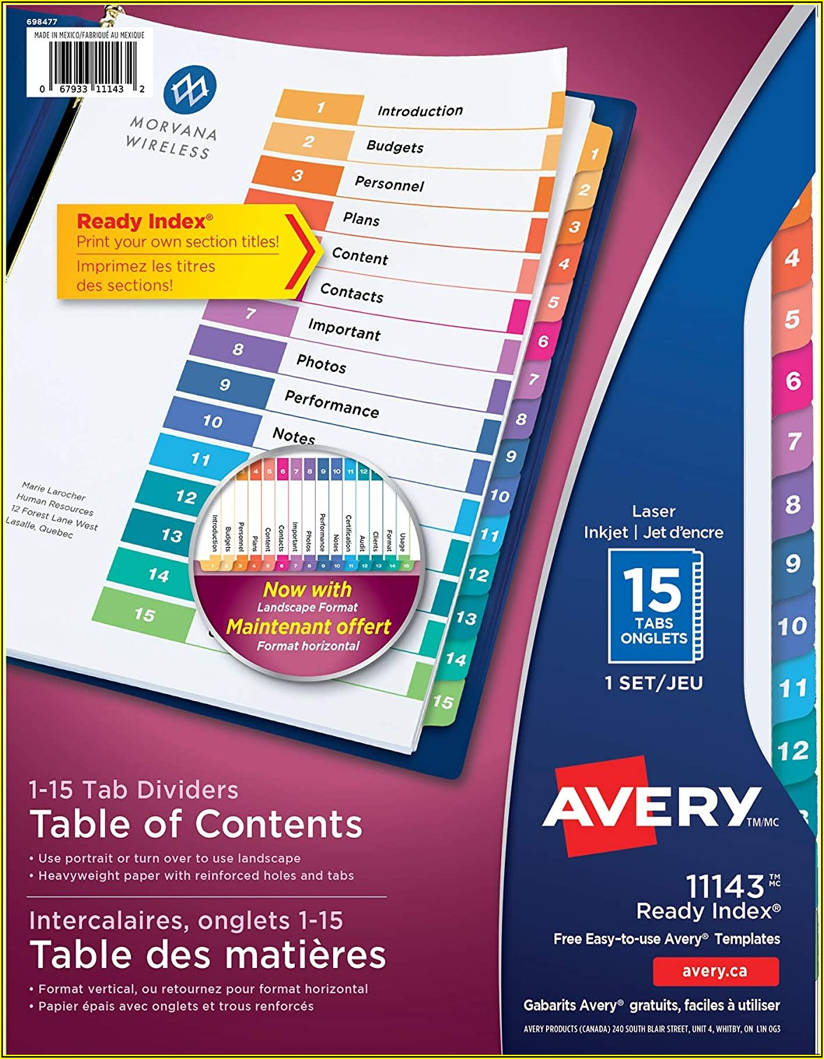 Avery Ready Index Dividers 10 Tab Template