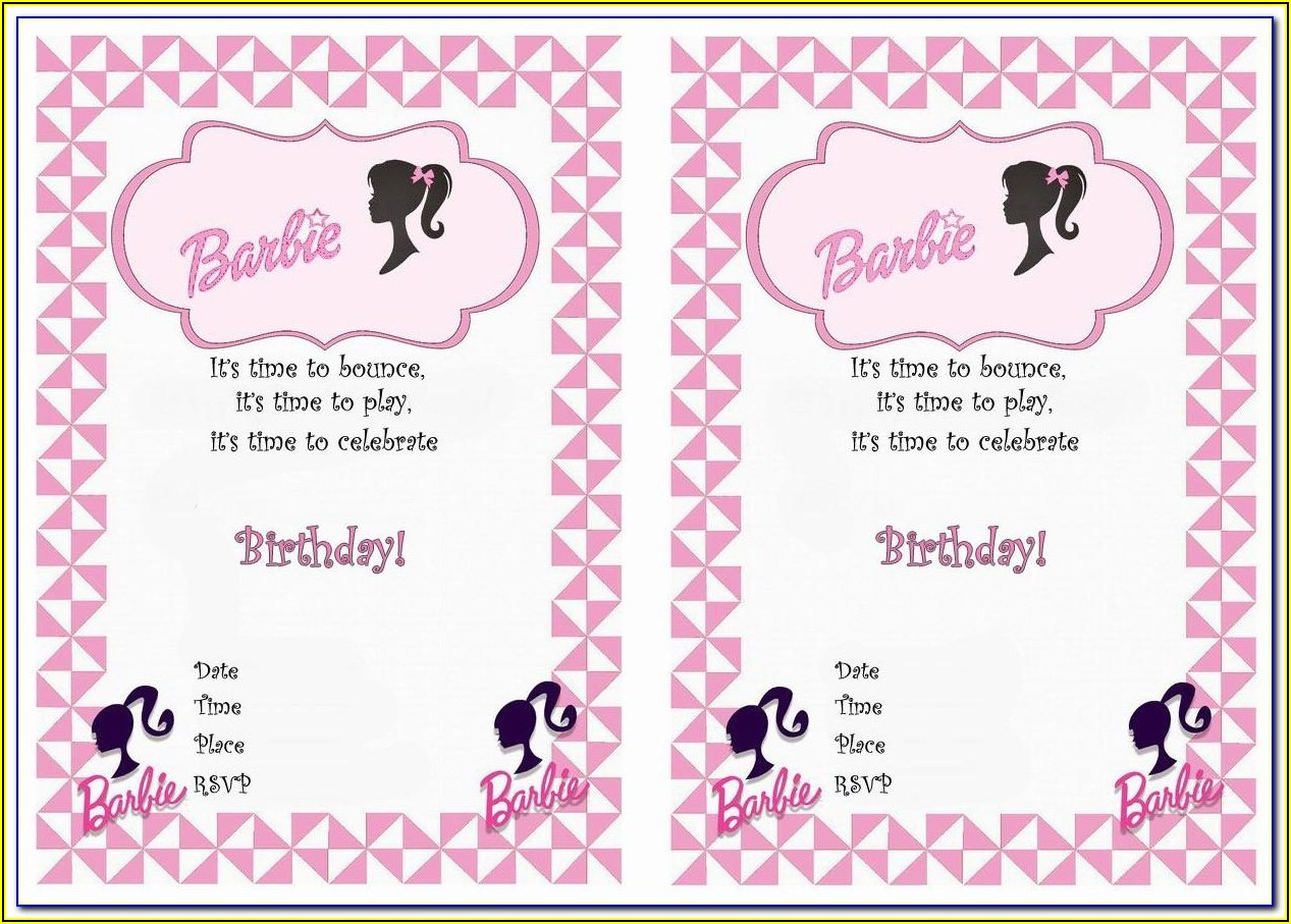 Barbie Invitation Template Free Download