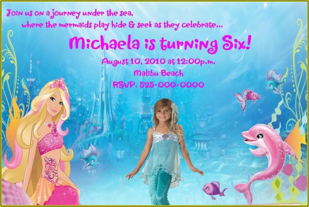 Barbie Mermaid Invitation Template