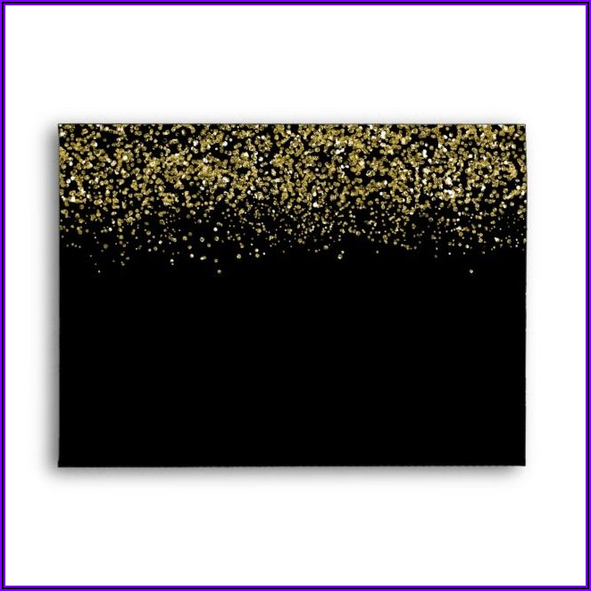 Black Envelopes With Gold Glitter Lining