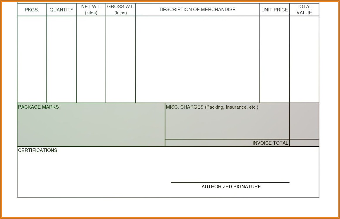 Blank Commercial Invoice Form