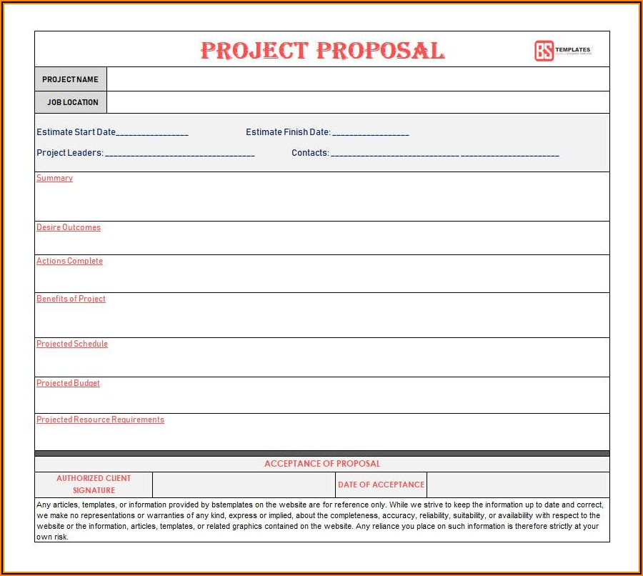 Blank Construction Proposal Form