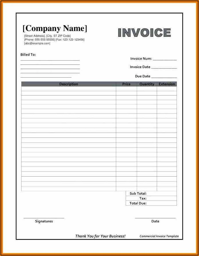 Blank Invoice Form Word