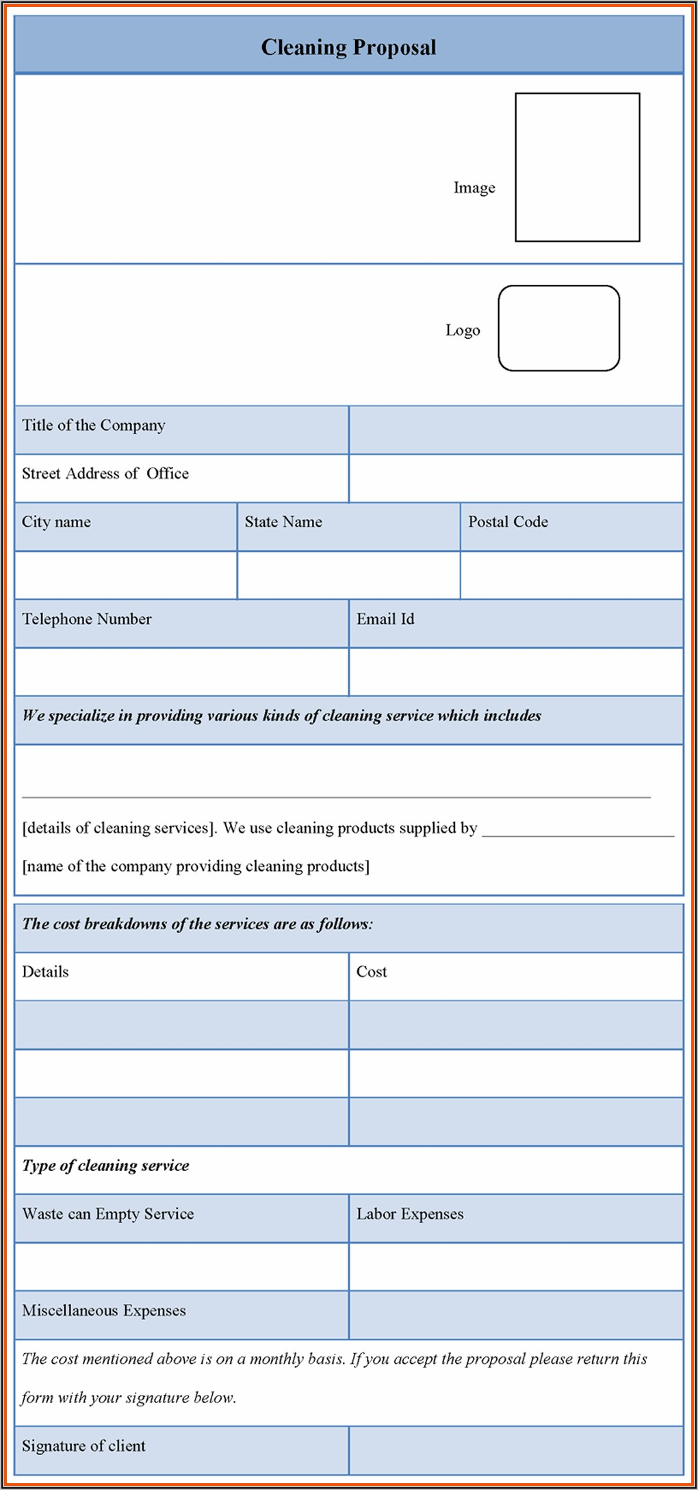 Business Cleaning Proposal Template