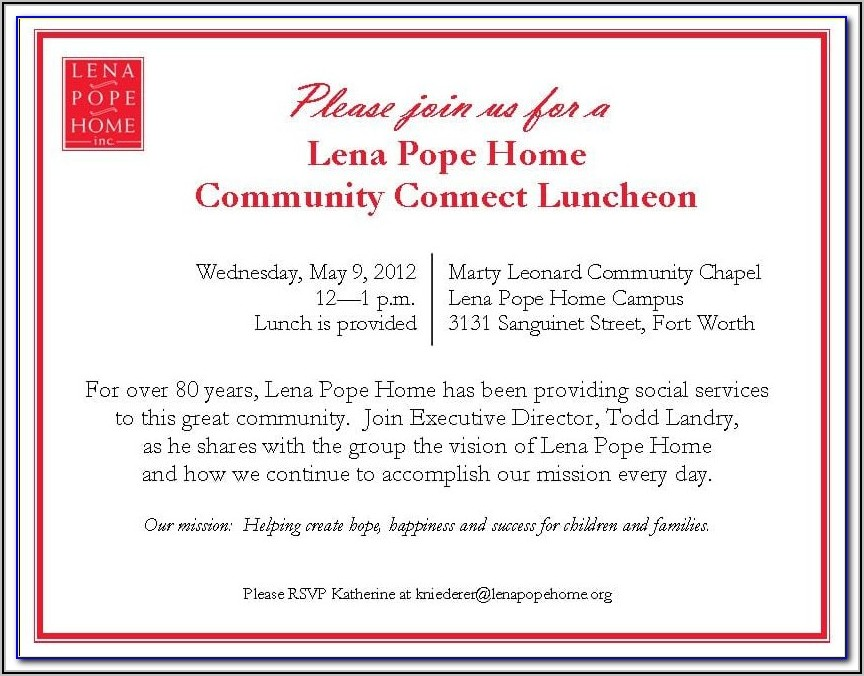 Business Lunch Invitation Sample