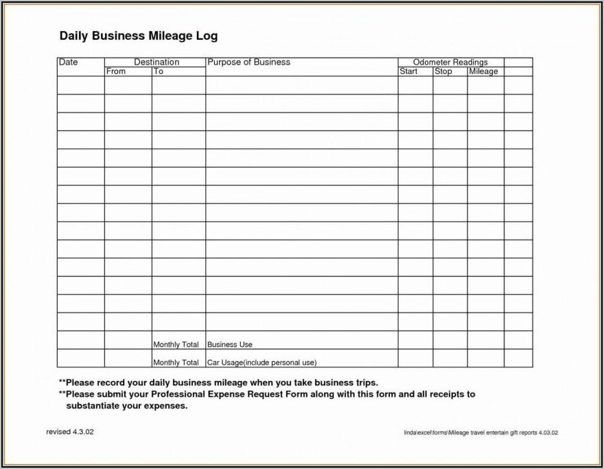 Business Mileage Log Excel Template