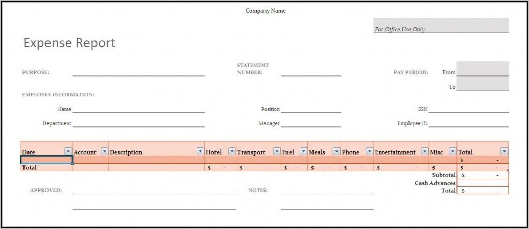 Business Mileage Tracker Template