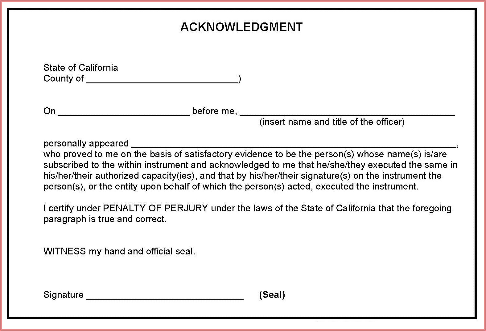 Ca Notary Acknowledgement Forms