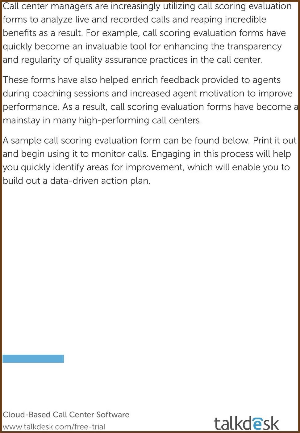 Call Center Quality Assurance Form Examples
