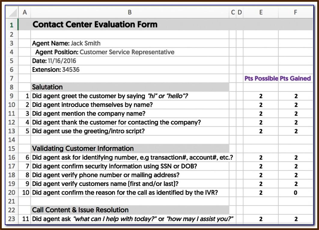 Call Center Quality Assurance Forms