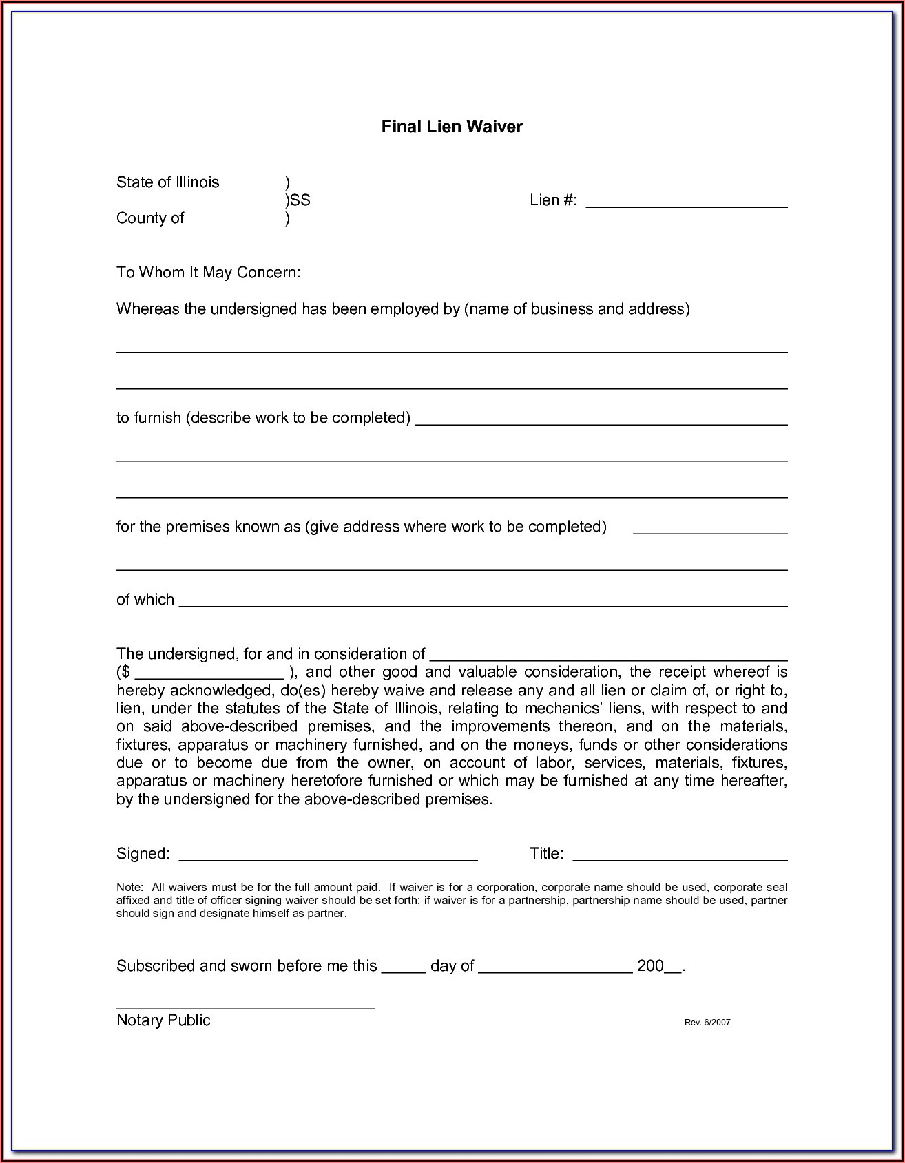 Certificate Of Release Of Federal Tax Lien Form 668(z)