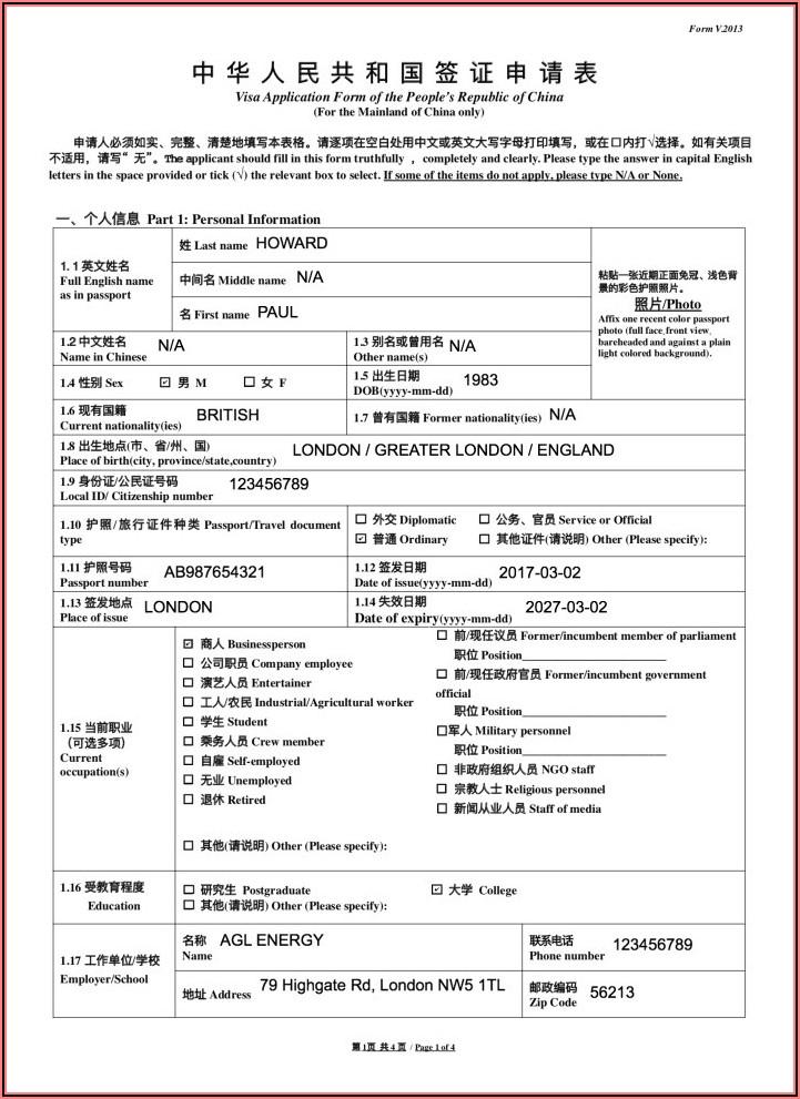China Embassy Visa Application Form 2019