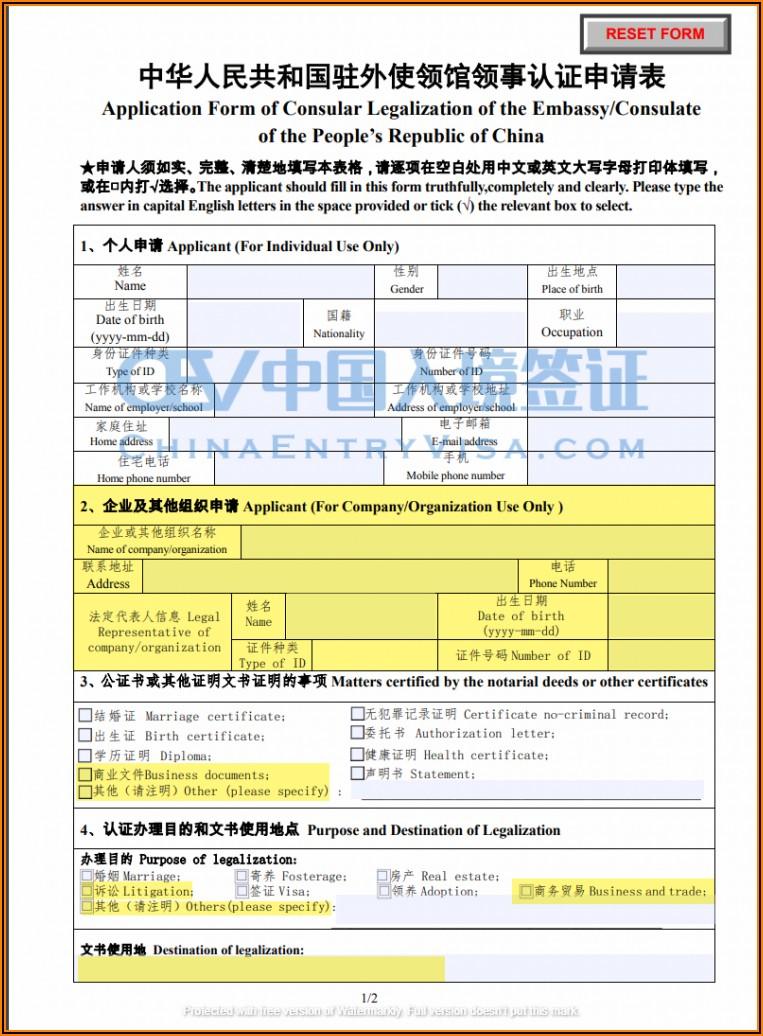 Chinese Visa Documents