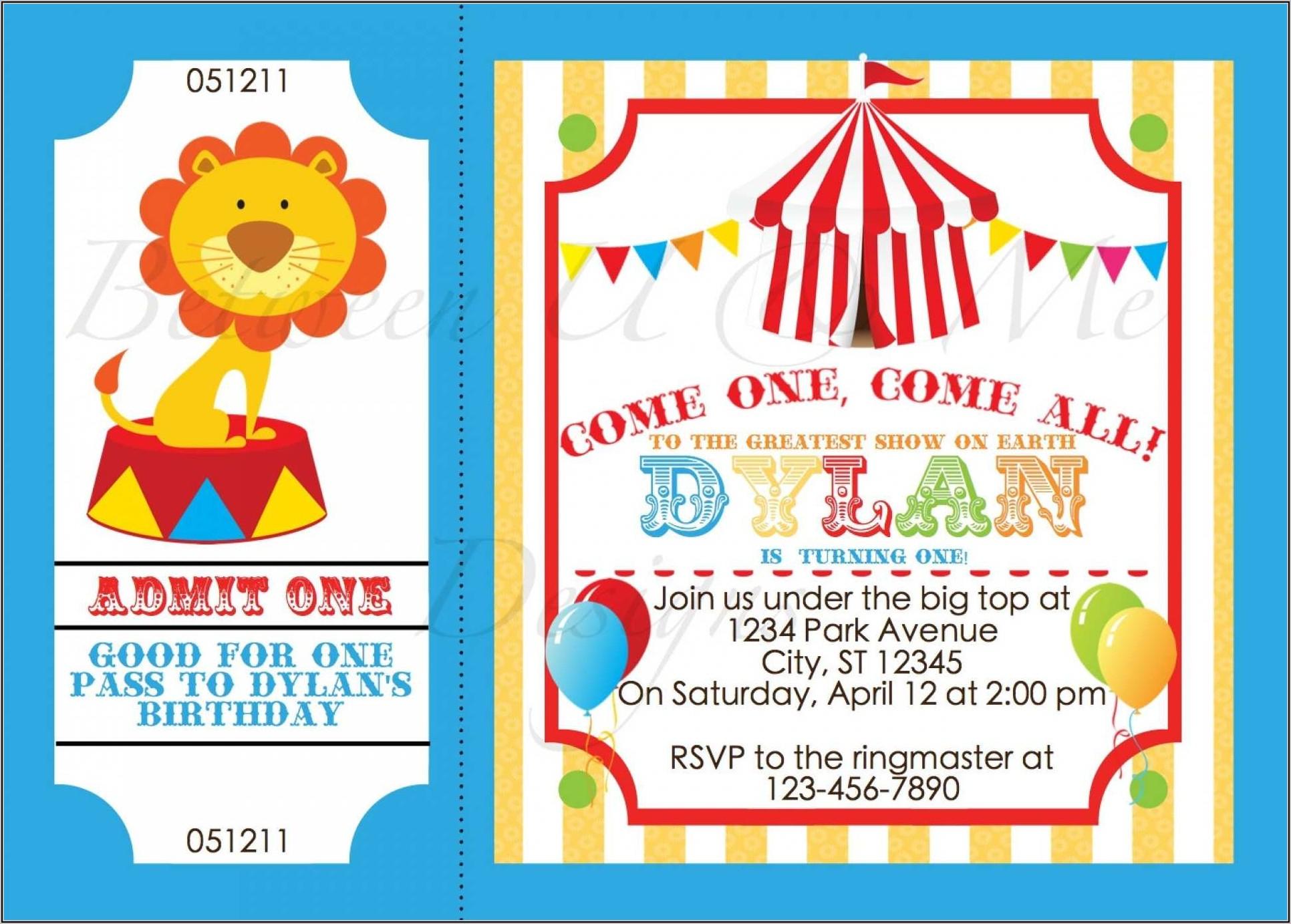 Circus Birthday Invitation Template Free