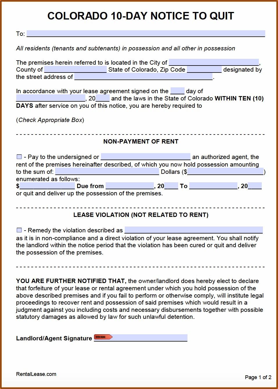 Colorado 10 Day Notice To Quit Form