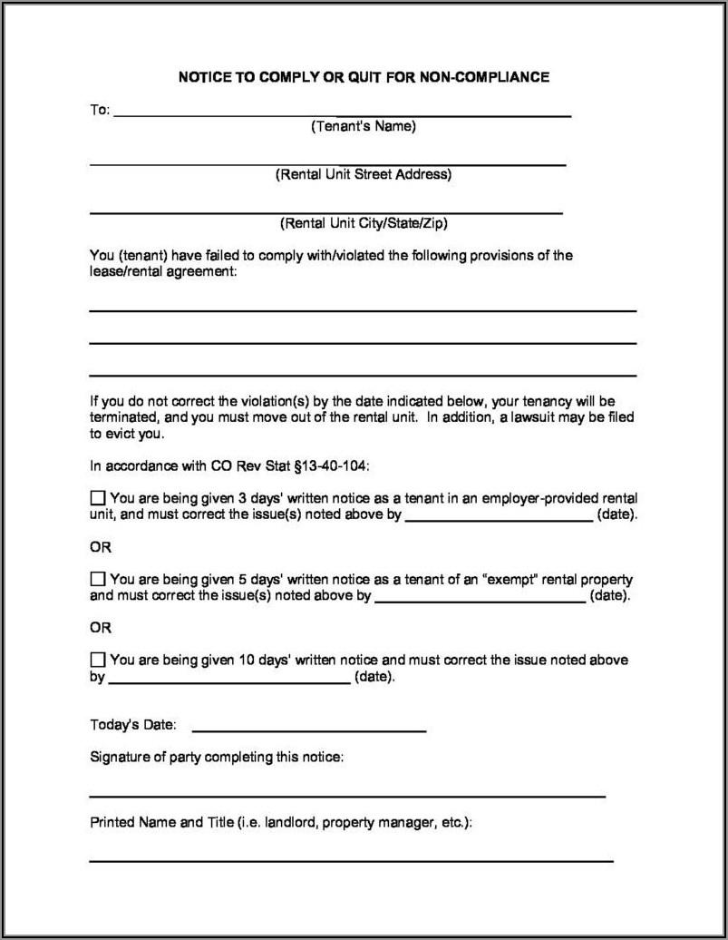 Colorado Notice To Vacate Form