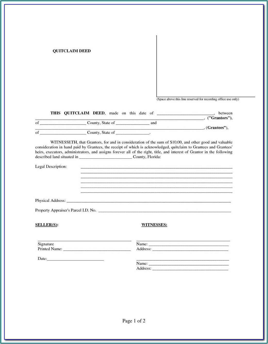 Colorado Quit Claim Deed Form Free