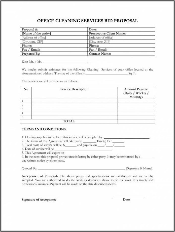 Commercial Cleaning Bid Template Free