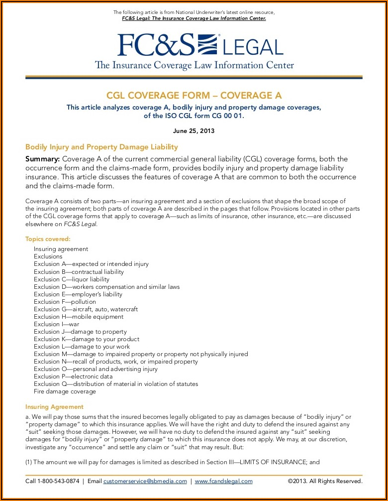 Commercial General Liability Occurrence Coverage Form