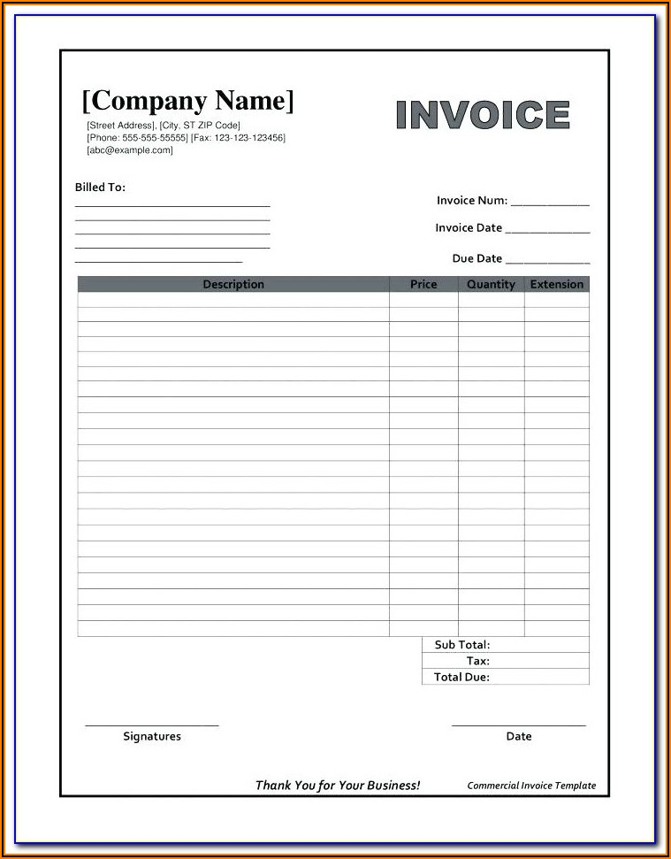 Commercial Invoice Blank Form Excel