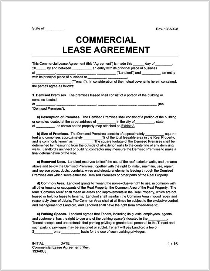 Commercial Office Lease Agreement Template