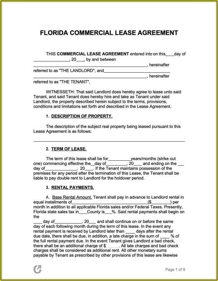 Commercial Property Lease Agreement Template Free