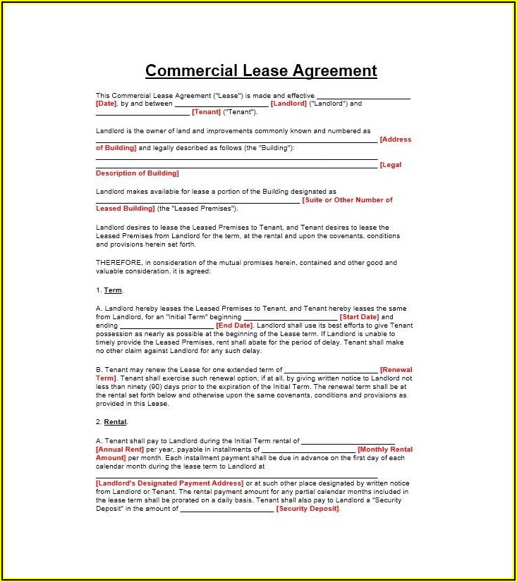 Commercial Property Rental Agreement Template