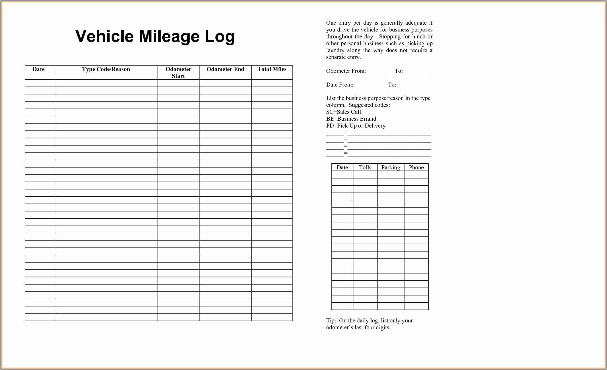 Company Car Mileage Log Template