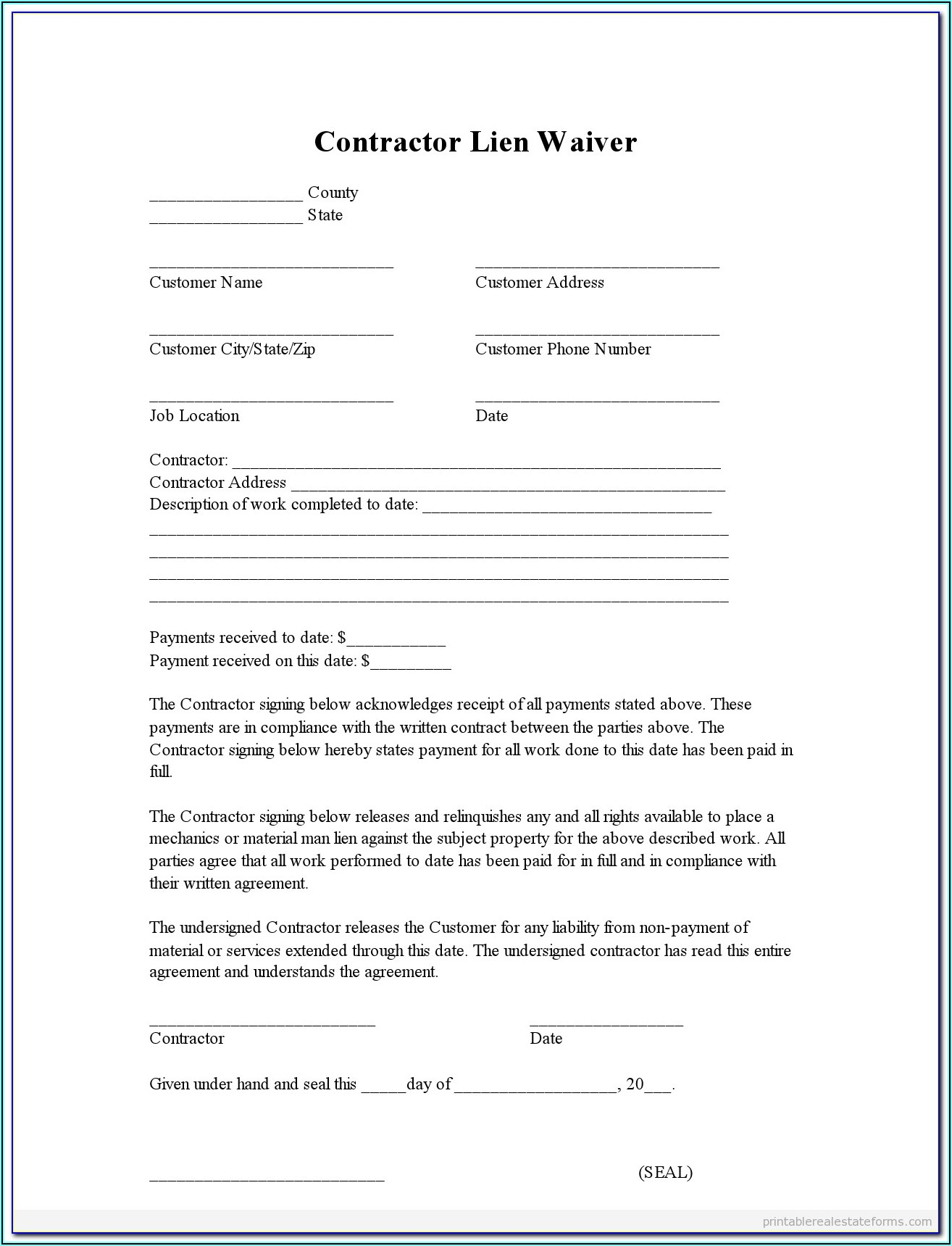 Construction Lien Forms