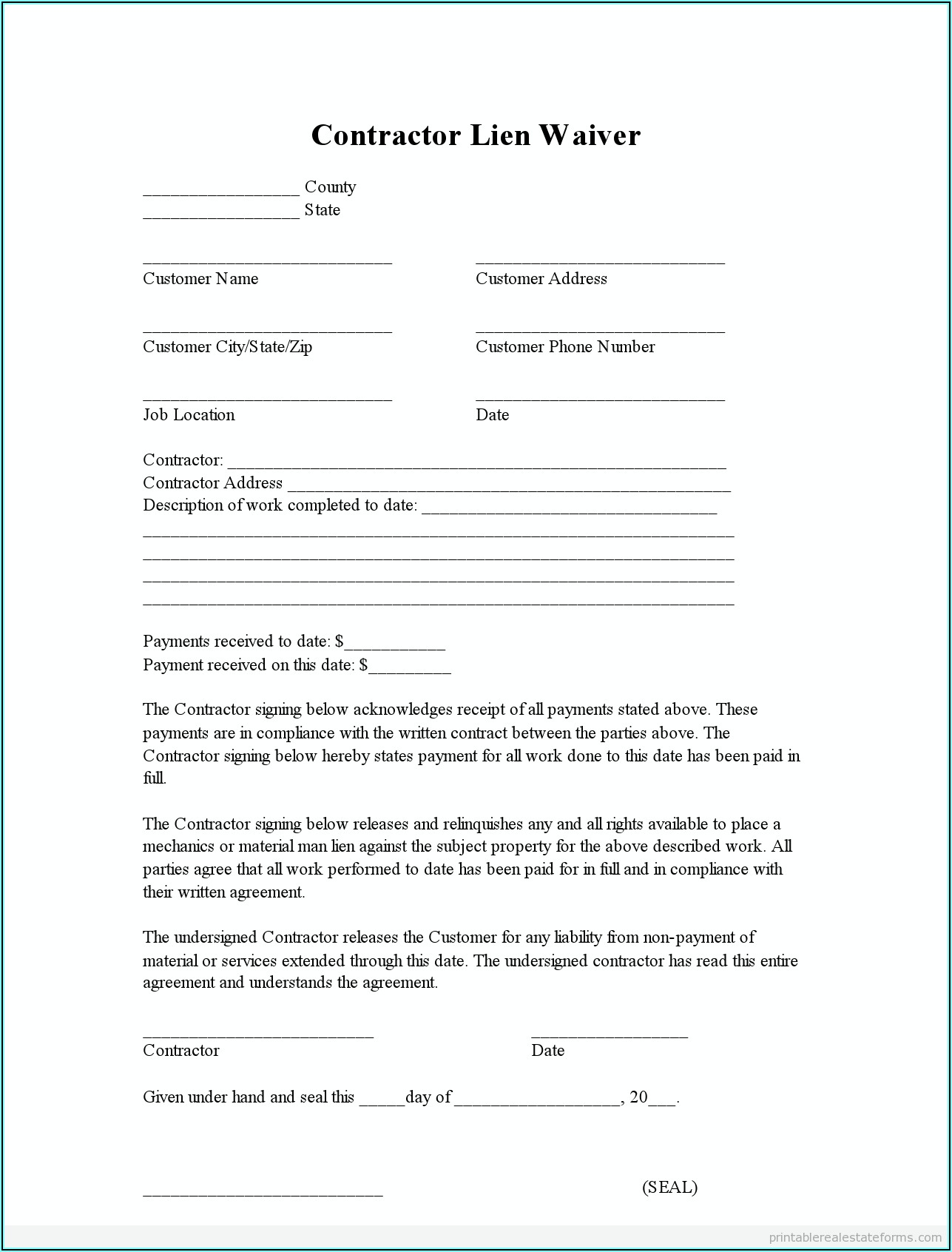 Contractor Lien Forms Free