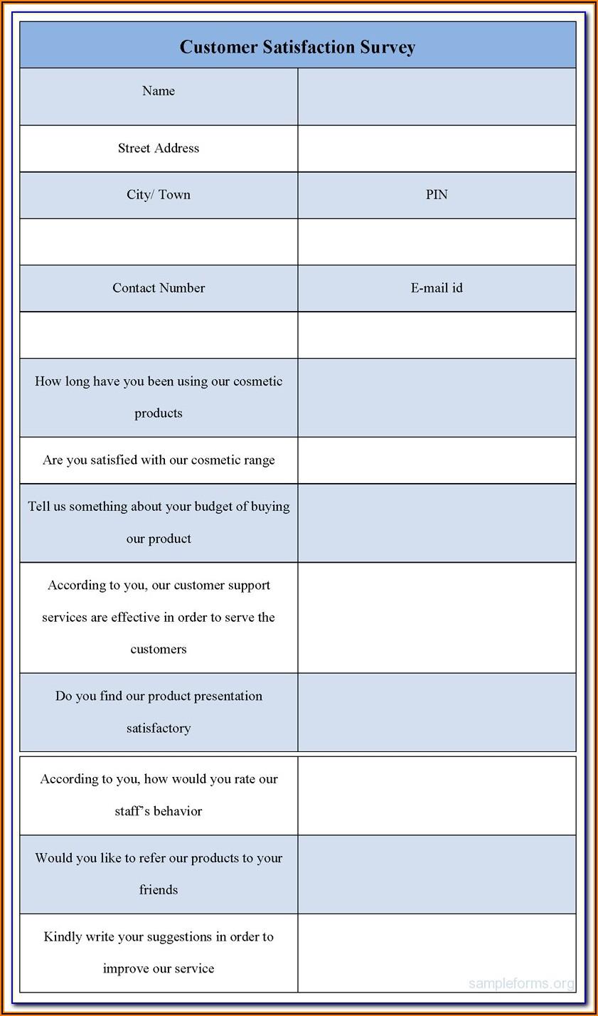 Customer Satisfaction Survey Form Iso 9001