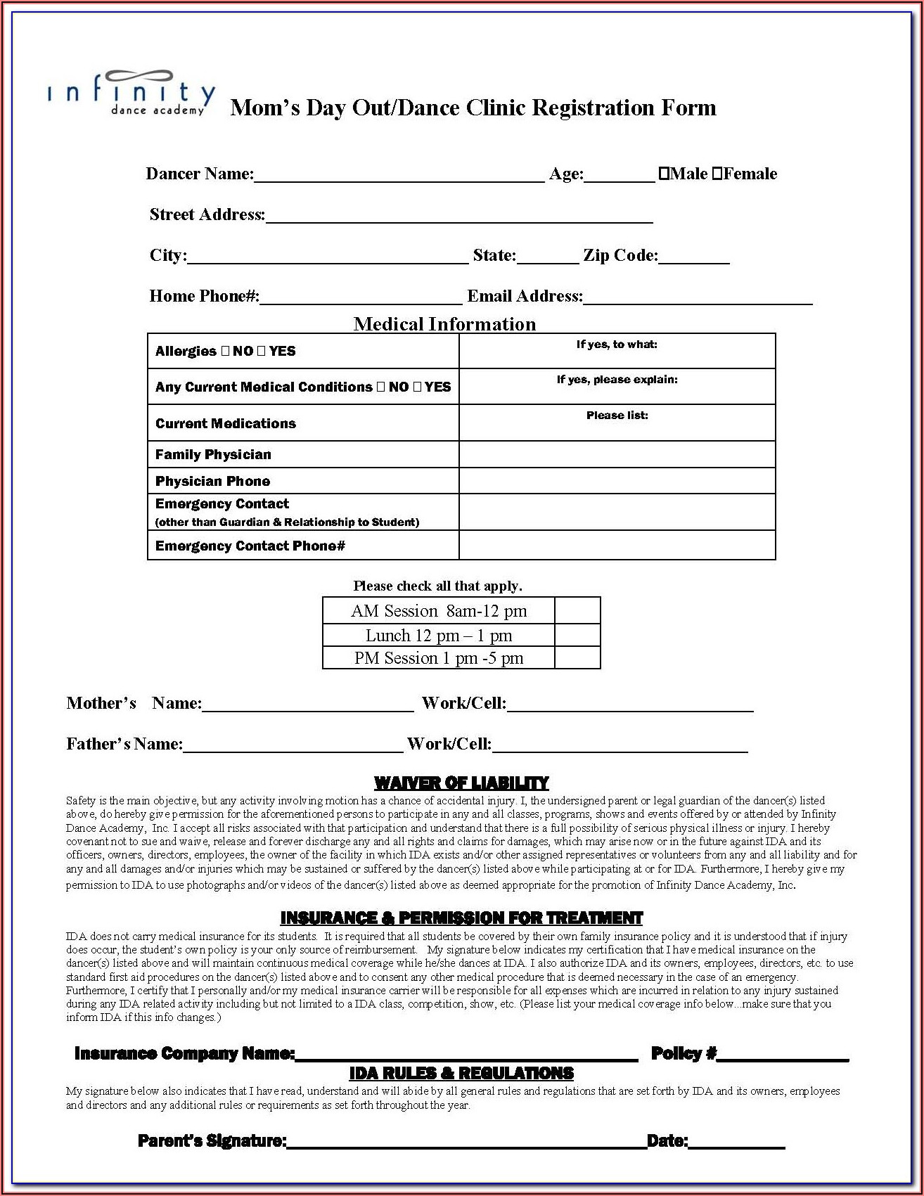 Dance Enrolment Form Template