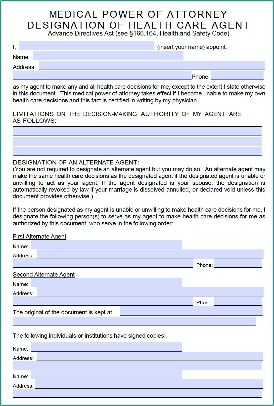 Declaration Of Guardianship Form Texas
