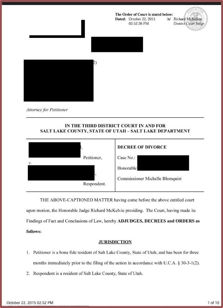 Decree Of Divorce Form Utah